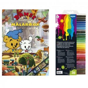 132124 Bamse målarbok och fiberpennor